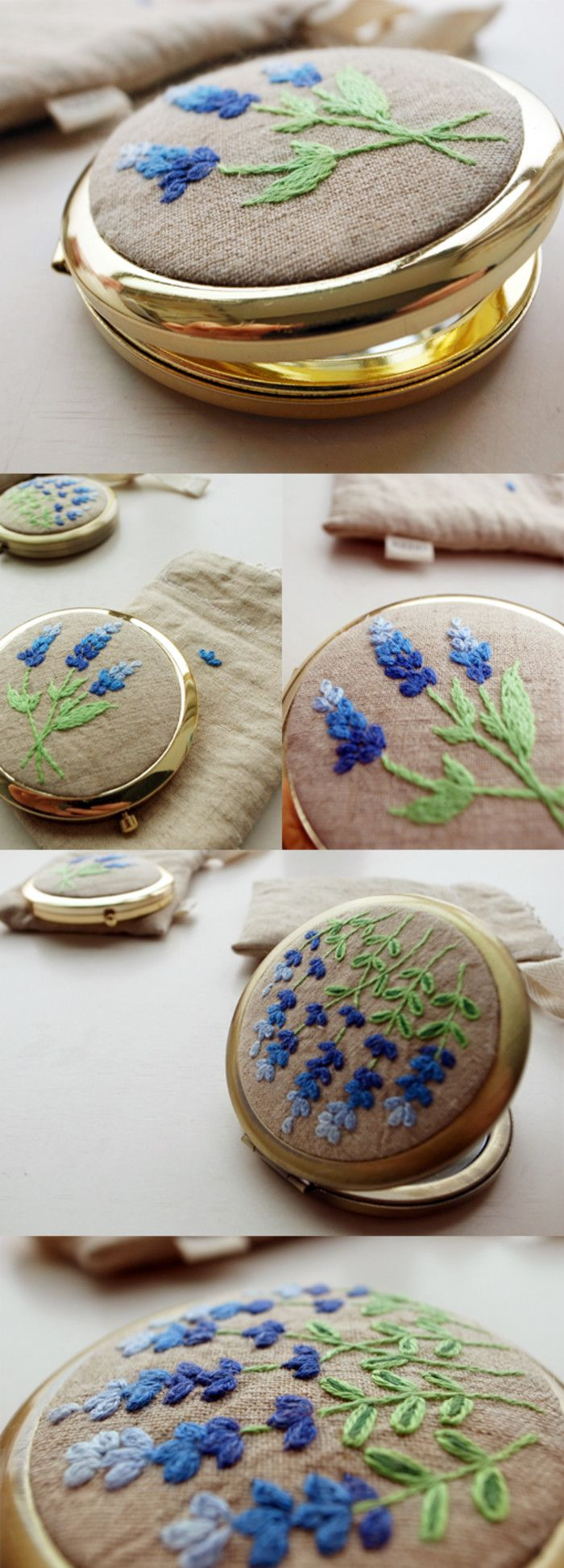 Embroidered compact.