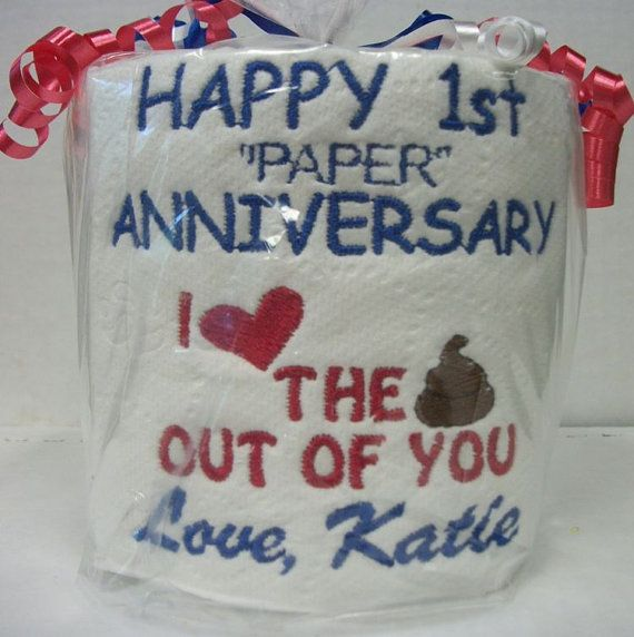 Custom Made Embroidered 1st Anniversary Toilet By