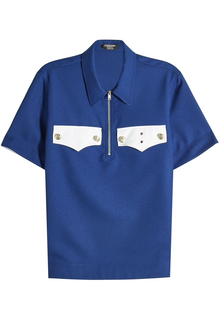 CALVIN KLEIN 205W39NYC COTTON POLO SHIRT WITH EMBOSSED BUTTONS. #calvinklein205w39nyc #cloth #