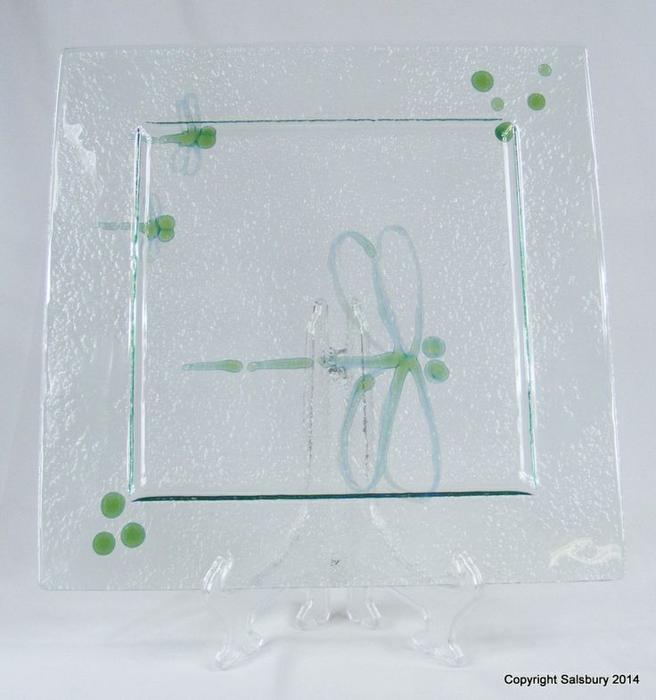 One of a kind - Slumped Glass Dragon Fly unique plate perfect as a gift or as a piece for your home