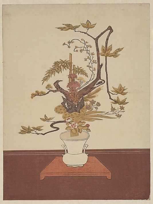 Ike Bana (Flower Arrangement) in the Ike-no-bo Style  Suzuki Harunobu  (Japanese, 1725–1770)  Period: Edo period (1615–1868) Date: probably 1765 Culture: Japan Medium: Polychrome woodblock print; ink and color on paper