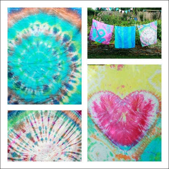 How to Tie Dye Playsilks - spiral, heart techniques