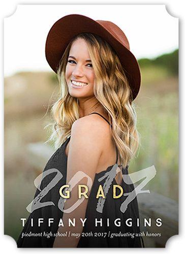 Graduation Announcements: Stylish Grad,  Announcement, Ticket Corners, White