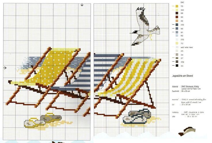0 point de croix grille chaises longues et mouette à la plage