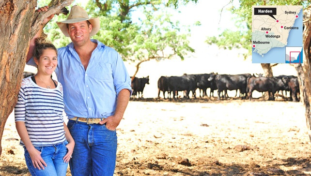 Andrina and Lachie Graham at their sheep and cattle property at Harden in southern NSW. The Grahams run the successful Argyle Prestige Meats. Picture: Zoe Phillips