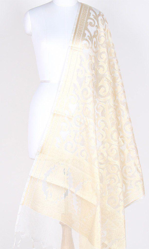 Cream Silk Tissue Banarasi Dupatta with Stylized jaal PCRVDAS02JT02 (1) Main
