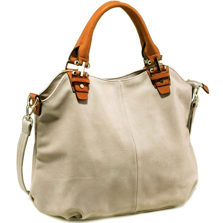 Designer inspired fashion tote bag with camel trim & straps (Beige)