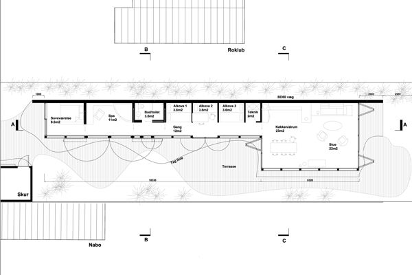Modern Long House Architectural Drawings Pinterest