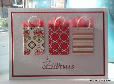 52 {Christmas} Card Throwdown: September Theme Honors (no info - at Christmas small little bags can be found or from miniature catalogues; card easy to create)