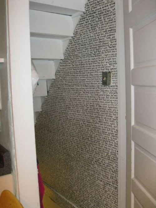The entire first chapter of Harry Potter written under the stairs. Love.