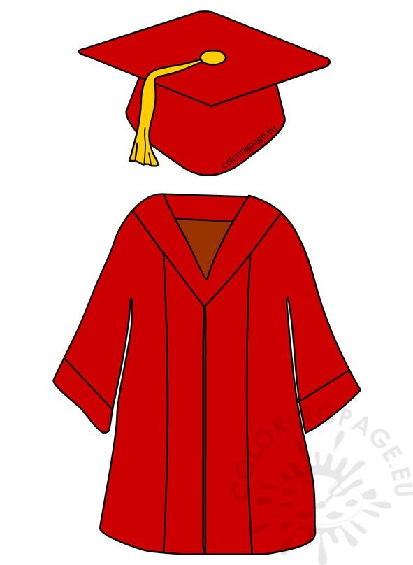 Red Preshool Graduation Cap And Gown