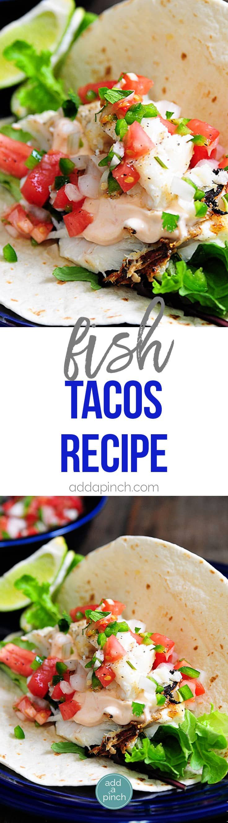 Fish Tacos Recipe - Made of flaky white fish, these fish tacos are ready in less than 30 minutes and always a favorite! // addapinch.com