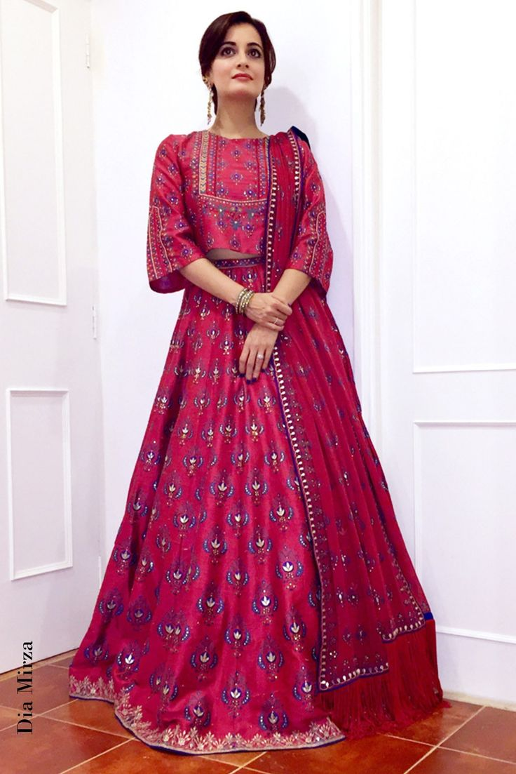 Red Silk Printed And Embroidered Lehenga With Crop Top