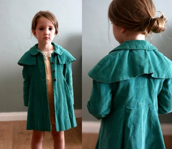 love this.... vintage 1930's children's jacket.  So cute. This same look could be made using Simplicity 2745 pattern then adding a Capelet.