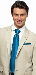 Dessy Pocket Square Groomsmen Accessories in Cerulean