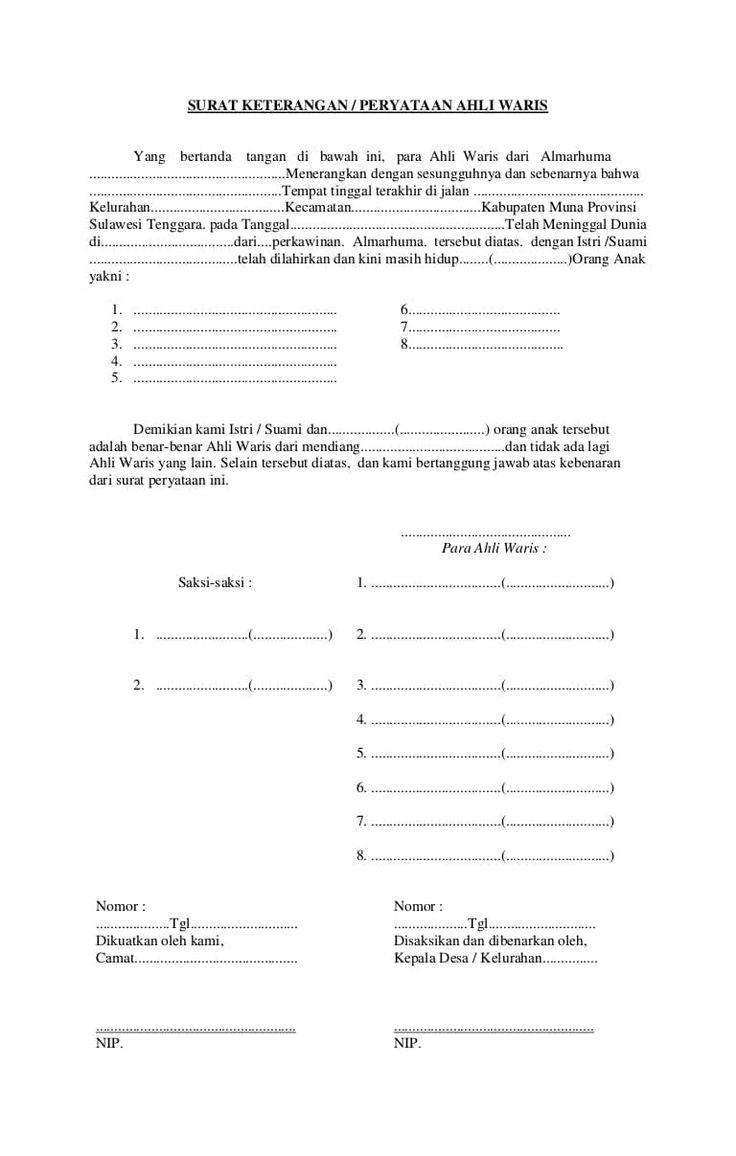 Contoh Surat Warisan Download Kumpulan Gambar