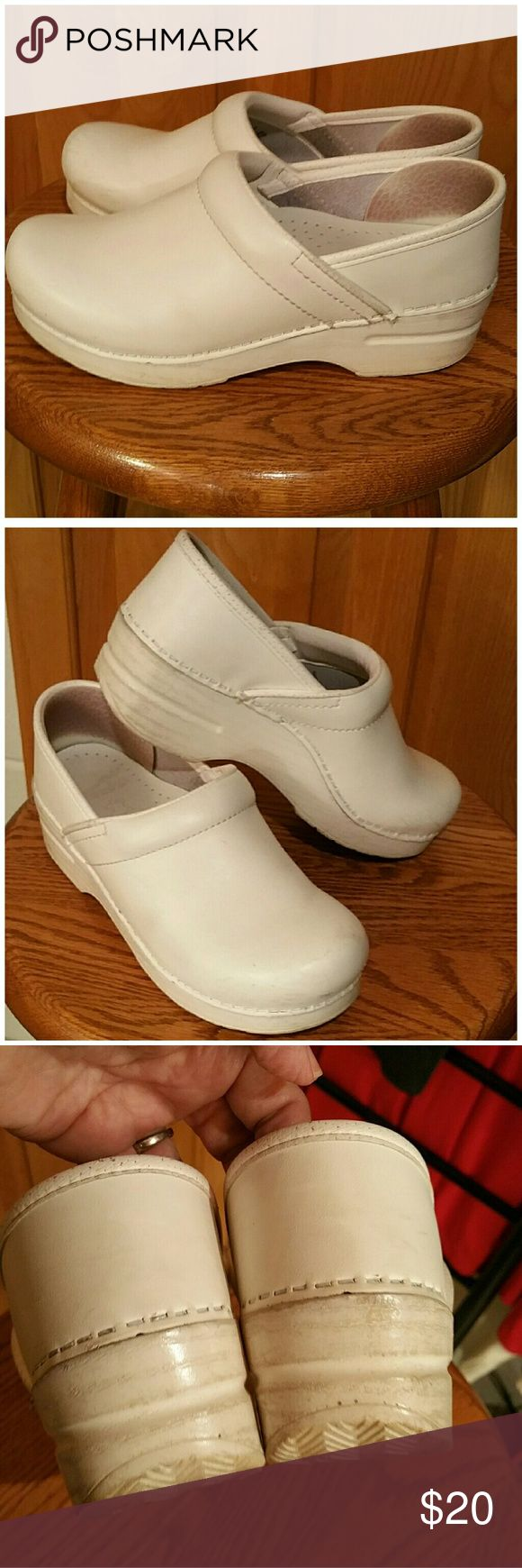 Dansko clogs Size 37 White Dansko clogs. Good condition, lots of life left. Great for a nursing student, assistant, dental office, doctors office. Size 37 which is equal to ladies size 7. Pricing to sell quickly. Dansko Shoes Mules & Clogs
