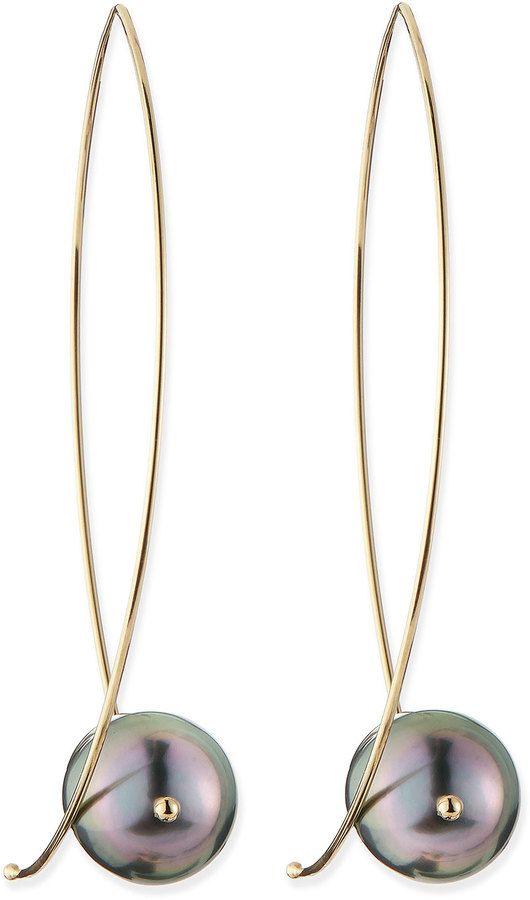 $790, Black and Gold Earrings: Mizuki 14k Gold Black Tahitian Pearl Earrings. Sold by Neiman Marcus.