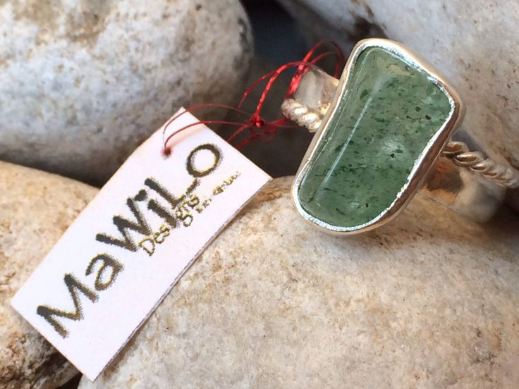 MaWiLo Designs Aventurine stone sterling silver ring mawilodesigns@gmail.com
