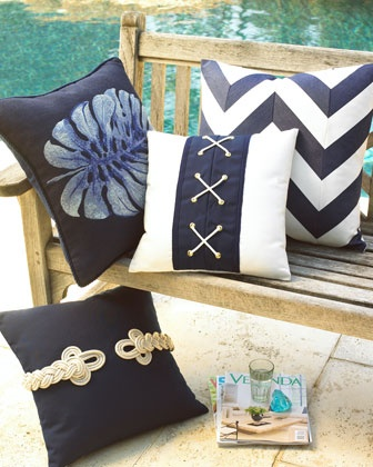 """Nautical"" Outdoor Pillows at Horchow."
