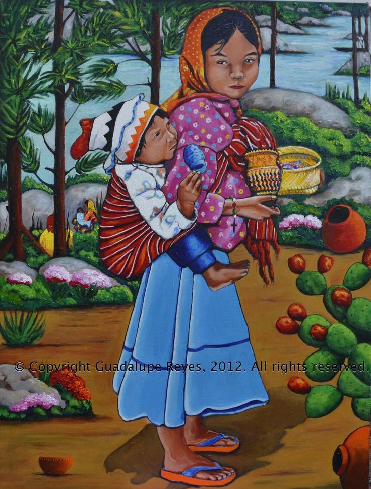 """La Niña Tarahumara"" 30"" x 40"" Acrylics on Canvas 2012 © 2012 Guadalupe Reyes"
