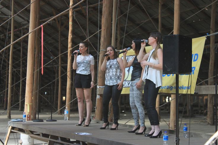 A cappella group 'Ginger & Toni' perform in the Stick Shed during Murtoa's Big Weekend 2014