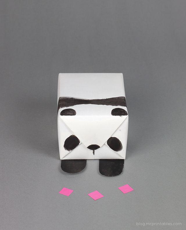 DIY panda gift wrap