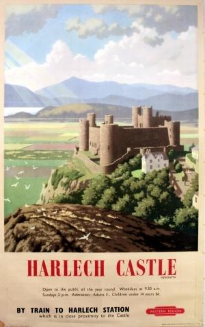 Harlech Castle Wales, 1959 - original vintage poster by Ronald Lampitt listed on AntikBar.co.uk