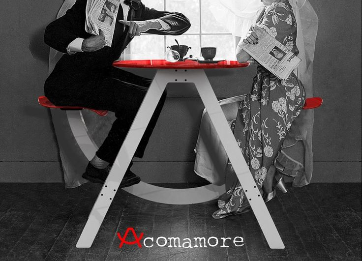 """Formabilio - Acomamore è un progetto che si ispira alla comune altalena biposto per bambini che troviamo nei parchi. Un oggetto concepito per la coppia che affronta la sfida quotidiana di alimentare il proprio amore giorno dopo giorno. La """"giostra"""" ideale per colazioni rilassanti e cene romantiche. Regalatelo per S. Valentino."""