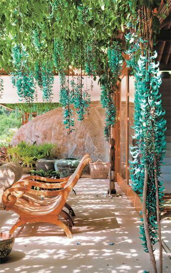 A pedra Jade dá nome à espécie verde-azulada Strongylodon macrobotrys, escolhida por Fernando Chacel e Sidney Linhares para esta pérgola. Ela se mantém densa o ano todo, mas seus cachos em flor atraem beija-flores nos meses quentes. Gosta de umidade e não sobrevive ao frio. Pode ser plantada com sementes ou estacas.