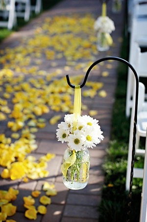 Flowers for Southern Country Weddings  Simple white and yellow.....like the ribbon instead just a wire, don't you??