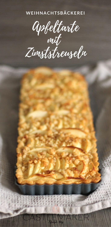 Apfeltarte mit Zimtstreuseln - so lecker und natürlich auch in der runden Tartefarm möglich. Das Rezept für den köstlichen Apfel-Rahm-Kuchen gibt es auf meinem Blog (dort in rund). #tarte #rezept #apfelkuchen #zimtstreusel