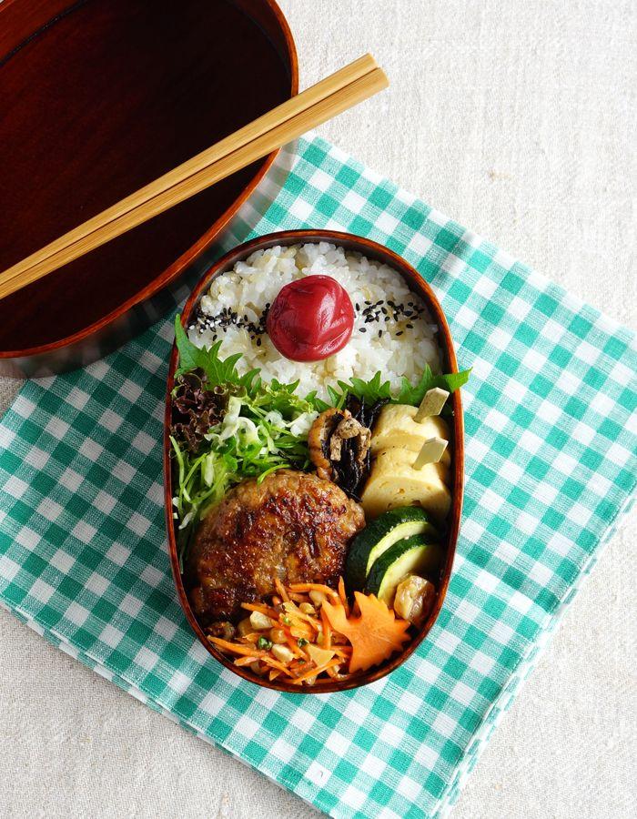 Teriyaki pork hamburger steak bento/豚肉ハンバーグ弁当