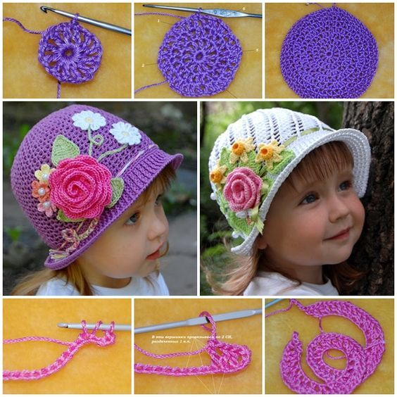 Crochet pretty-panama-hats-for-girls FREE pattern #diy #craft #crochet