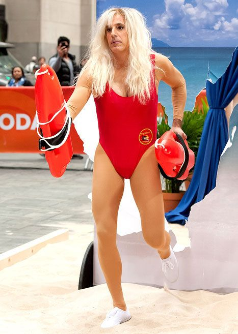 The Today show's hosts won the morning show Halloween competition dressed as classic TV characters -- Matt Lauer lead the way dressed in a swimsuit as Pamela Anderson's Baywatch character! Lol, love the legs.
