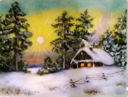Картина панно рисунок Валяние фильцевание Живопись шерстью Зима Шерсть