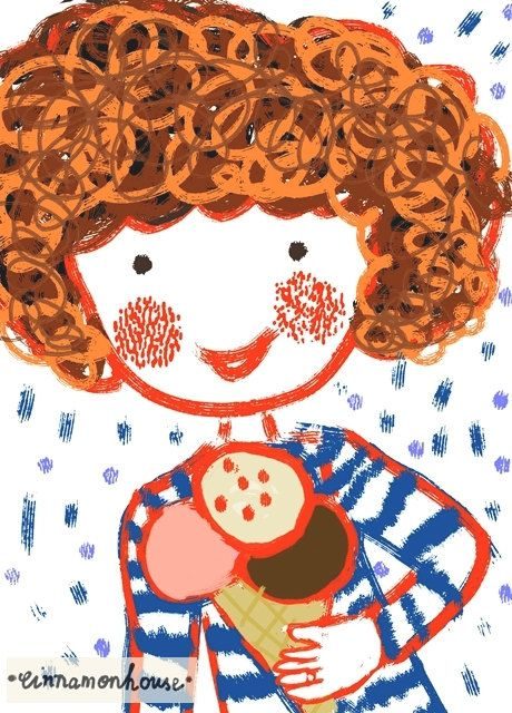 Girl with the ice cream print. by cinnamonnhouse on Etsy