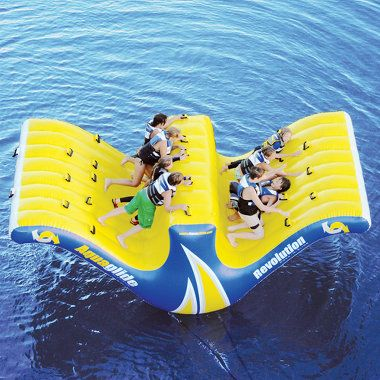 the water teeter totter that rocks up to ten people for safe, reliable waterborne fun for entire families. Five people positioned on either side grasp one of 20 built-in handles and then use body weight to rock the structure
