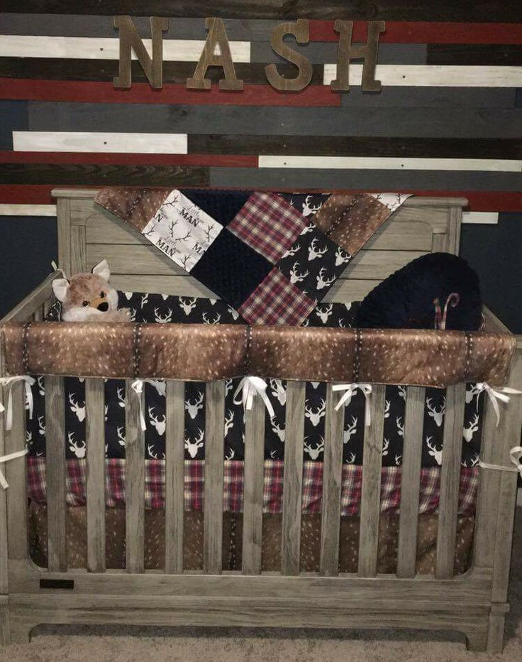 Boy Crib Bedding - Little Man Antlers, Deer Skin, Navy Buck, Red Navy Plaid, Navy