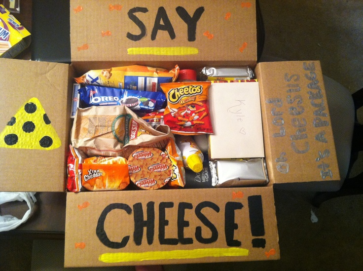 Care package I did for my boyfriend. Say cheese! Cheese products and disposable cameras