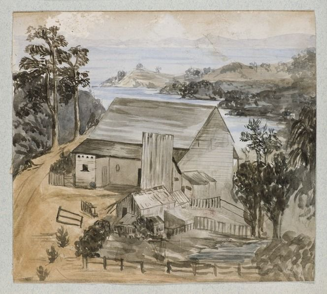 Appears to be the first Titirangi farmhouse of John Bishop. c.1880s. Watercolour painting by Templer, Cherie Templer (1856-1915)