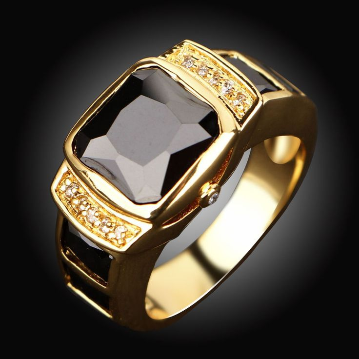 Wholesale Fashion Jewelry New Male Classic Black Stone Men Rings Yellow Gold Filled Engagement Ring for men Gift R058YBLS