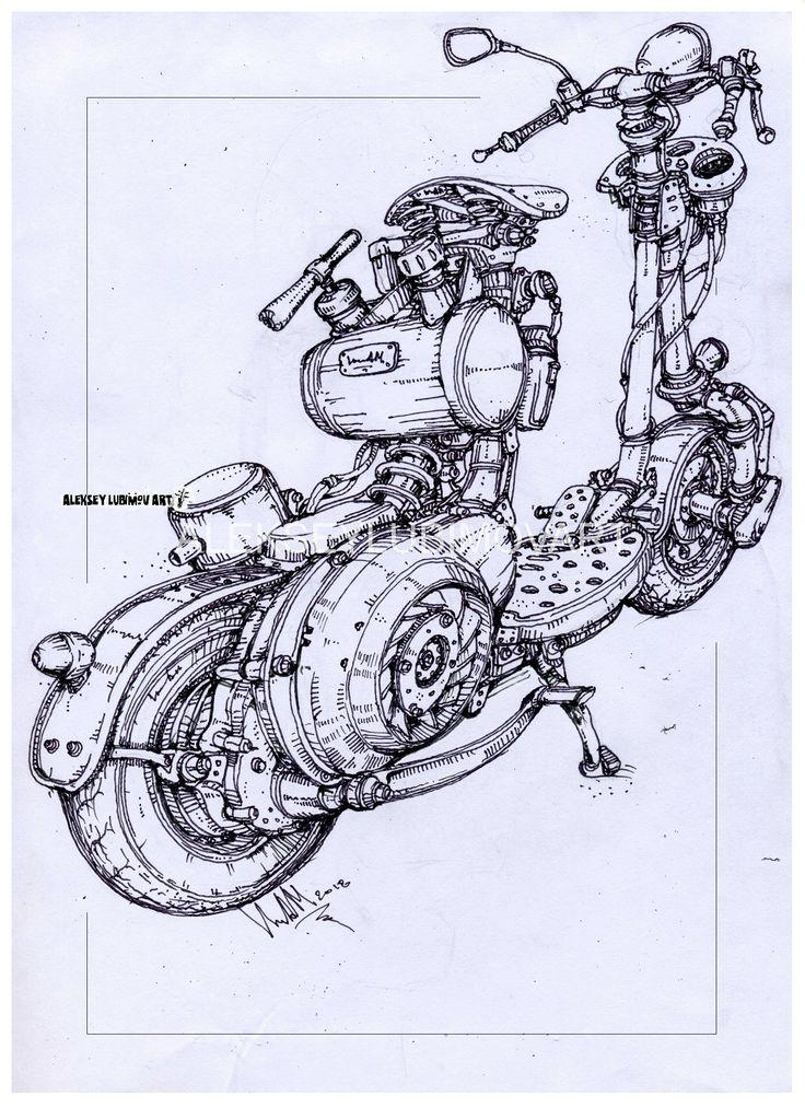#vespa/Author Aleksey Lubimov. #alekseylubimov_art #алексейлюбимовбиомеханика #алексейлюбимов #стимпанк #дизельпанк #биомеханика #marchofrobots #steampunk #dieselpunk #biomechanical #lineart #engine #motor #inktober2018 #technodoodling