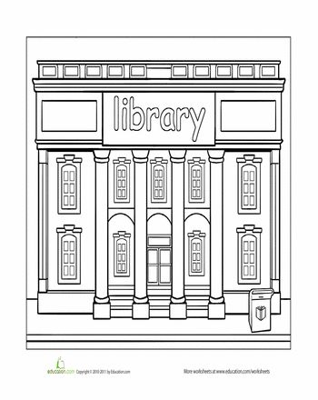 library coloring page coloring coloring pages community helpers worksheets library page. Black Bedroom Furniture Sets. Home Design Ideas