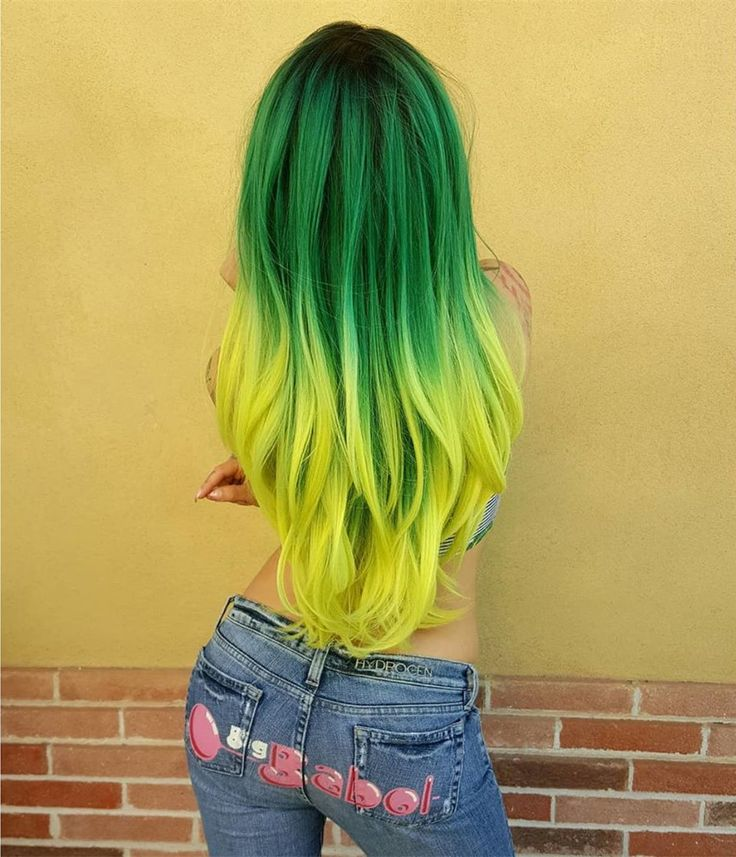 Long Forest Green To Yellow Ombre Straight Synthetic Lace ...
