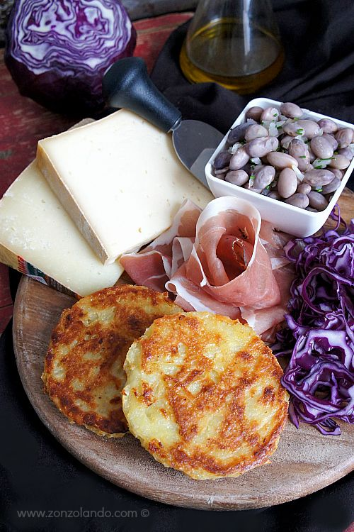 "TORTEL DI PATATE (Trentino) It is a kind of ""pancake"" made with eggs, salt, flour and grated potato #Italy #Italia #italian food #cibo #food"