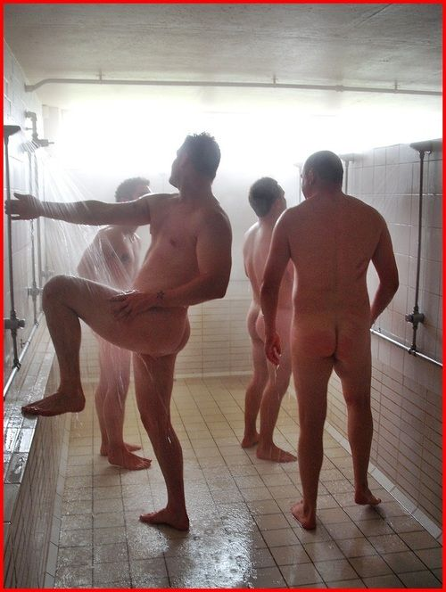 Naked men in shower room