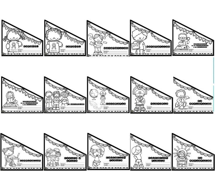 Lindos diseños de etiquetas o portadas para folders para colorear   Material Educativo