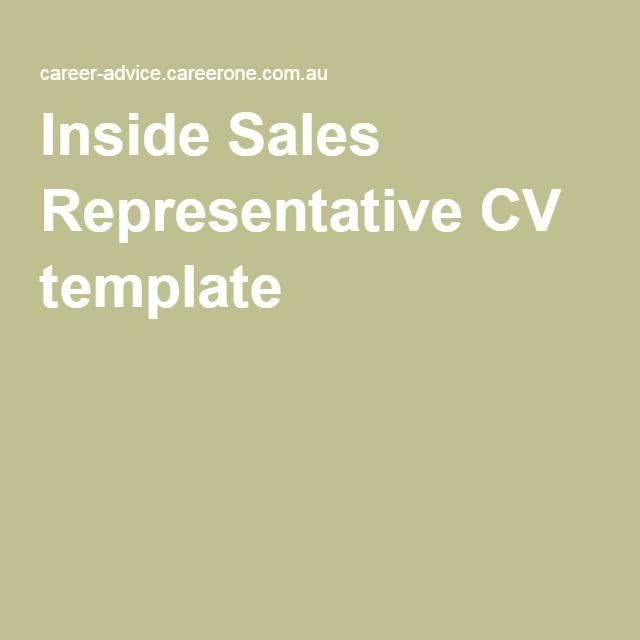 Inside Sales Representative CV template Barcelona Pinterest - sample inside sales resume