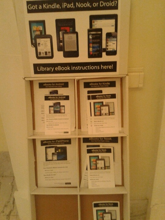 Spotted at the Nashville Public Library: Quick how-to guides they created help patrons get started with eReaders. Looking for a basic eBook instructional guide? http://www.overdrive.com/files/eBookHowToGuide.pdf